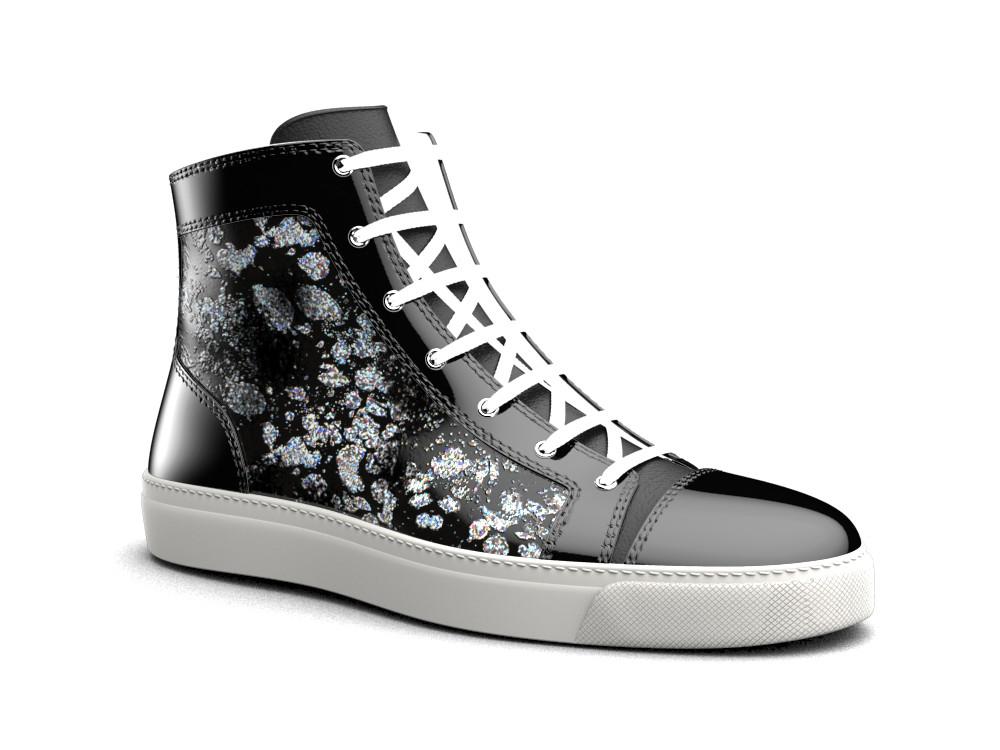 sneakers alta pelle spruzzo nero