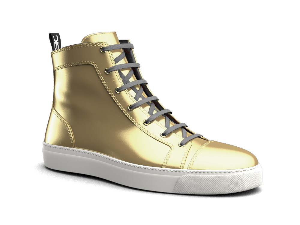 high top sneakers gold leather