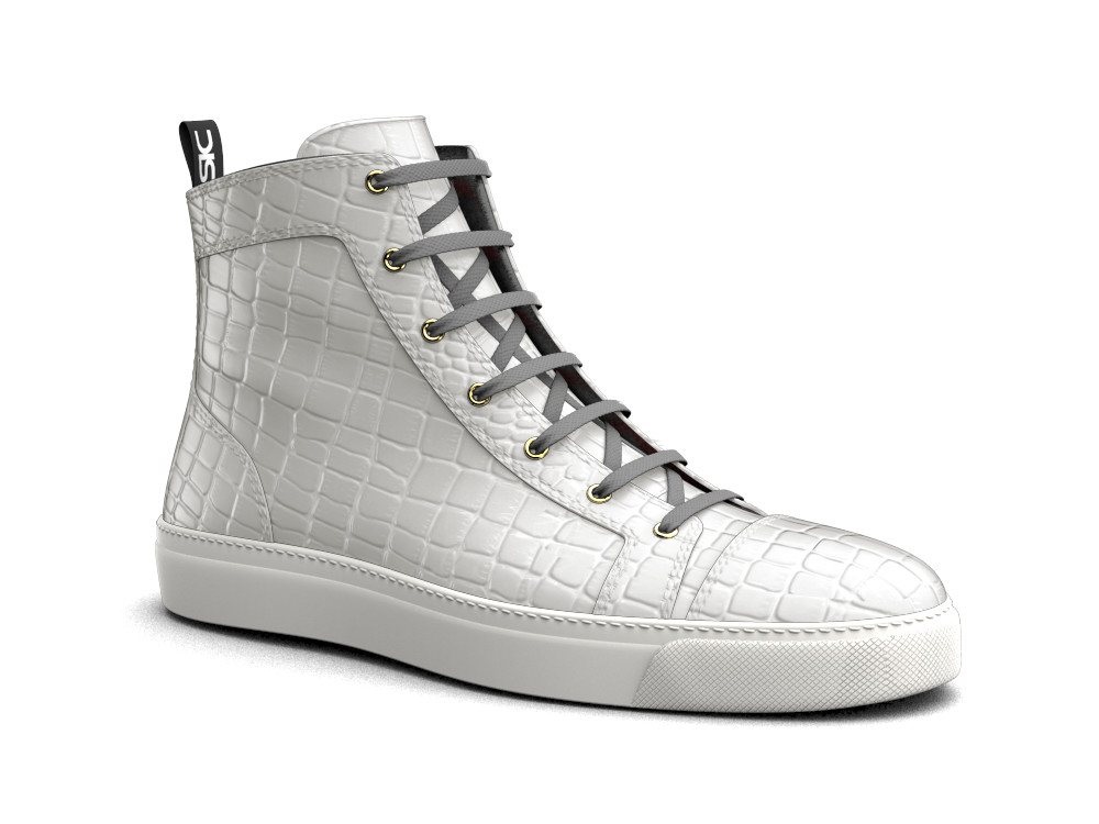 sneakers alta pelle stampa cocco bianca