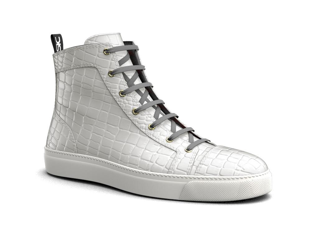 hi top sneakers white printed crocodile leather