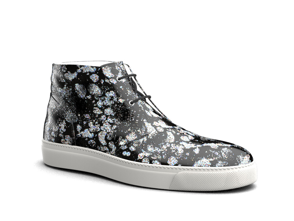sneakers boot pelle stampa spruzzo argento