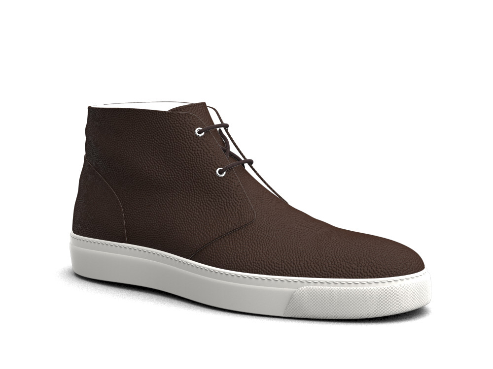 coffee pebble grain leather sneaker boot