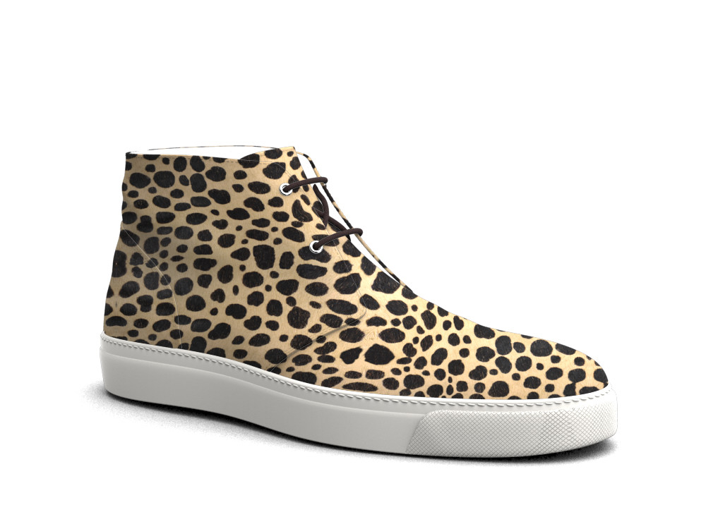 spotted hairy print leather sneaker boot