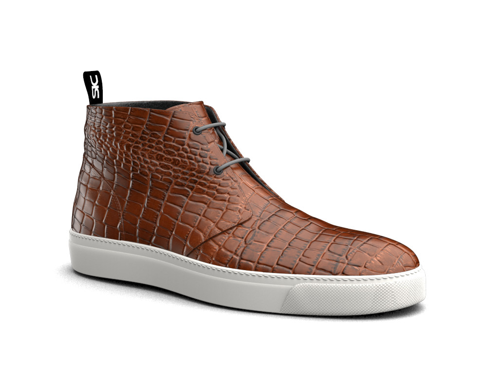 tan crocodile printed leather sneaker boot
