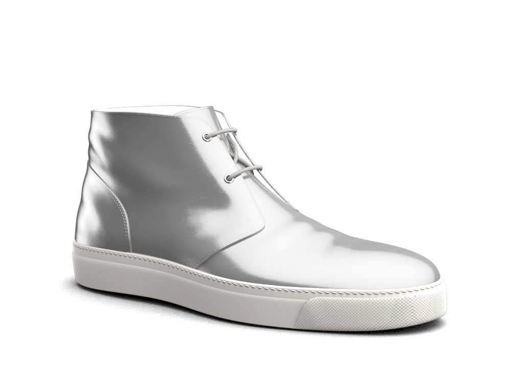 silver laminated leather sneaker boot