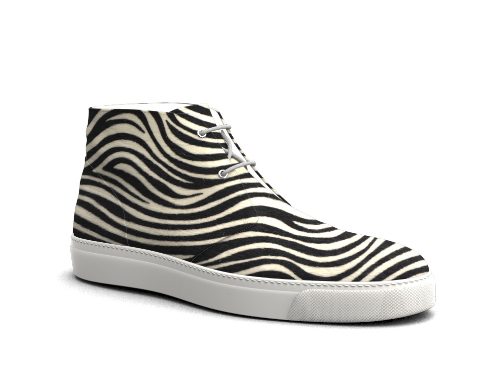 zebra hairy print leather sneaker boot