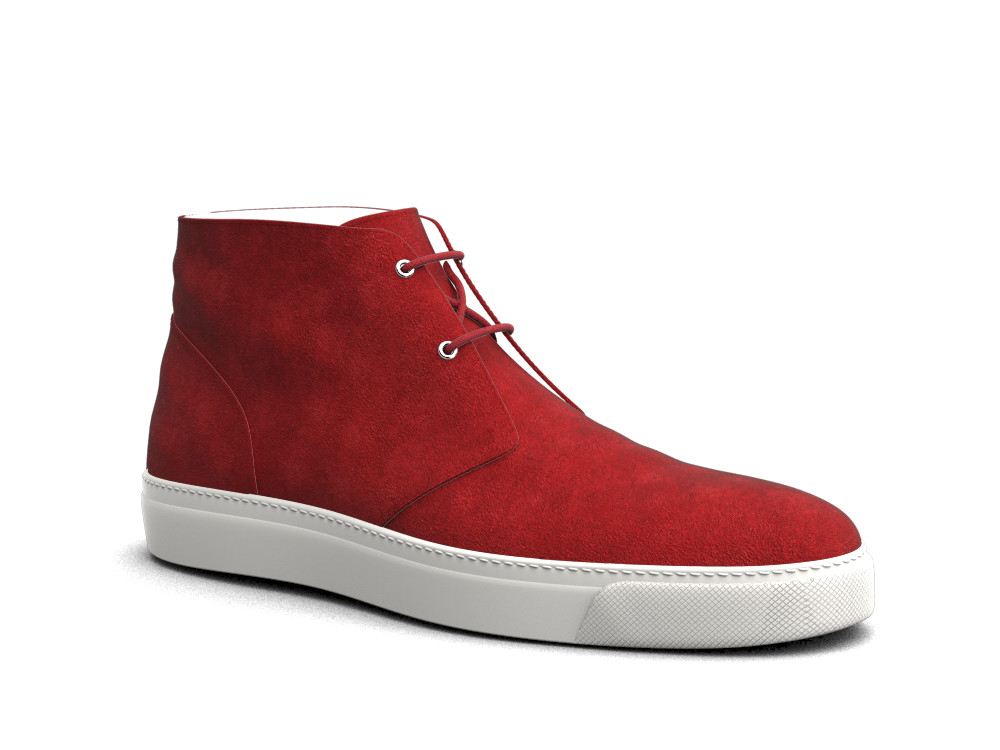 red suede leather sneaker boot