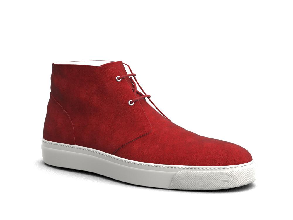 sneakers boot pelle scamosciata rossa