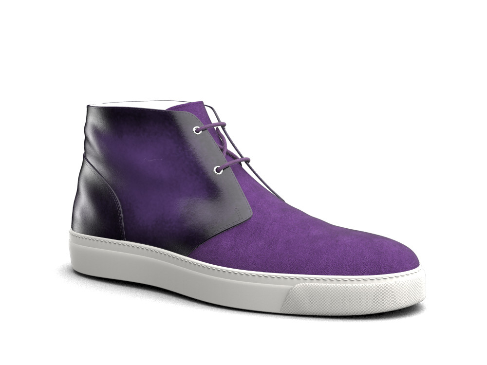 purple suede polished leather sneaker boot