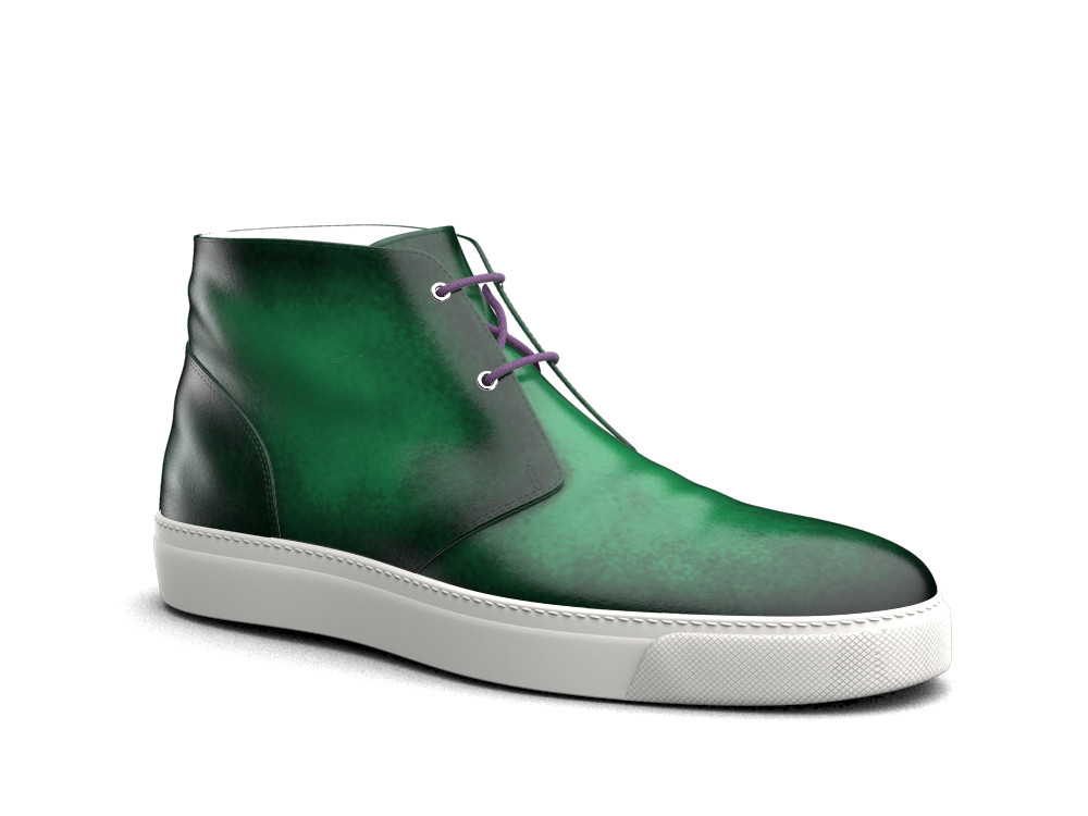 green polished leather sneaker boot