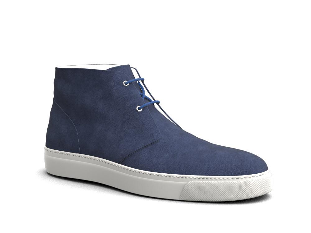 sneakers boot pelle scamosciata bluette
