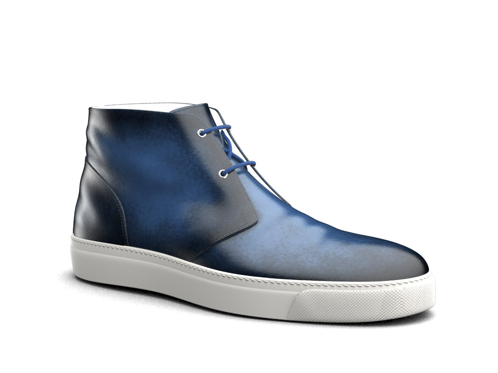 sneakers boot pelle spazzolata blu
