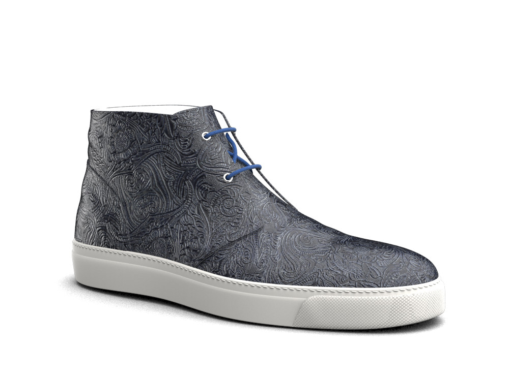 blue damask print leather sneaker boot