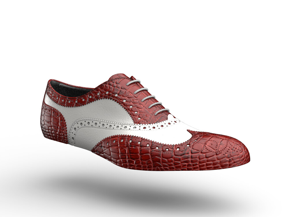 red crocodile print white calf leather woman oxford shoes