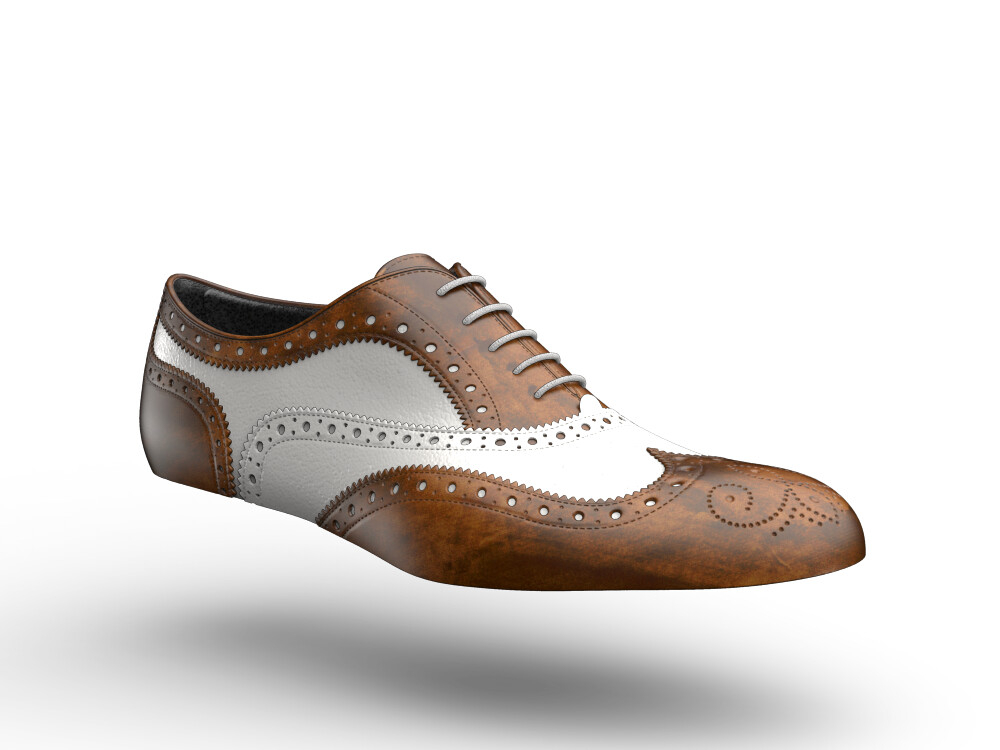 white calf tan deco leather woman oxford shoes