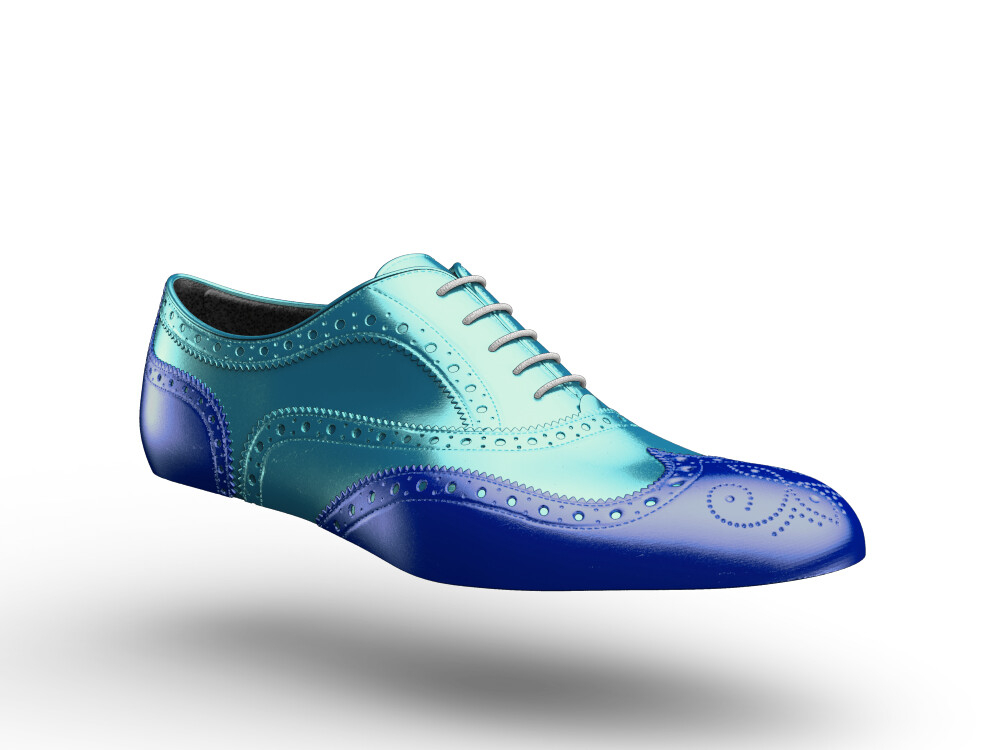 blue turquoise laminated leather woman oxford shoes