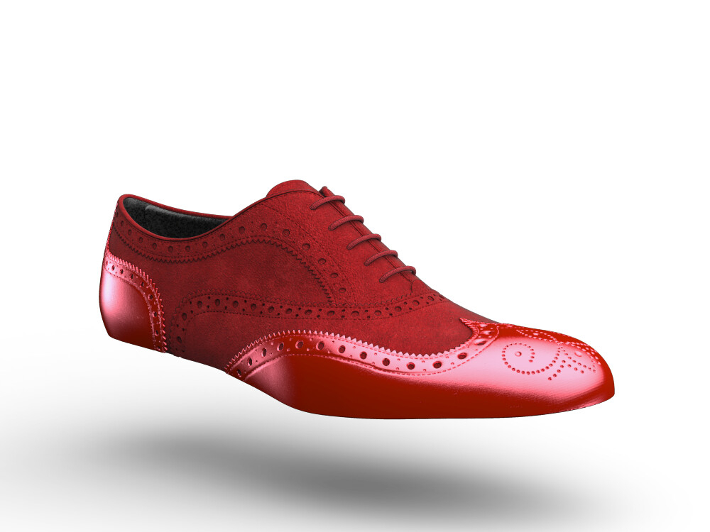 red suede laminated leather woman oxford shoes