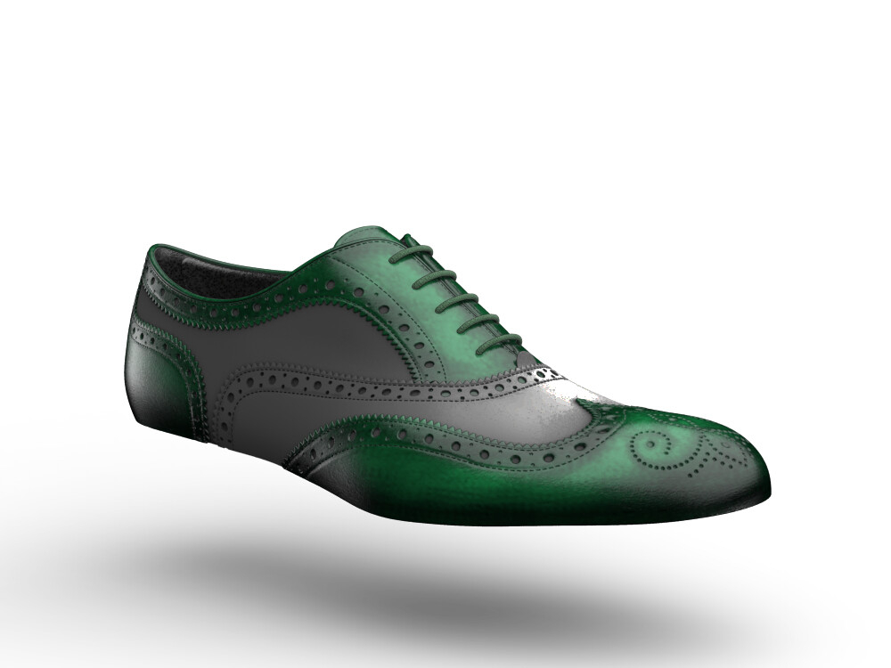 green polished stardust glitter leather woman oxford shoes