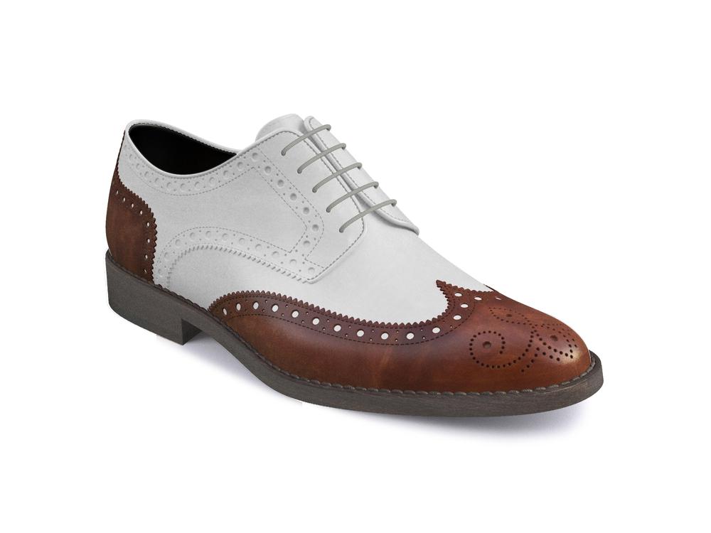tan deco white calf leather women derby shoes