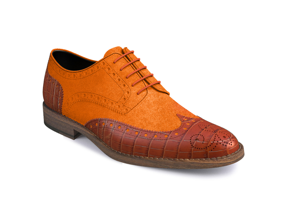 orange suede tan printed crocodile leather women derby shoes