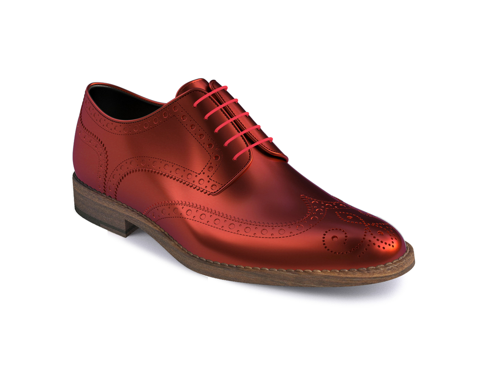 red laminated leather women derby shoes