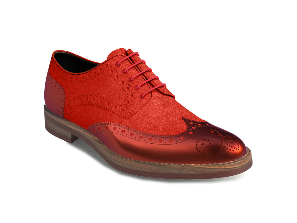 red suede laminated leather women derby shoes