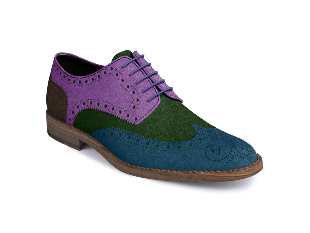 scarpe derby donna pelle scamosciata multicolor