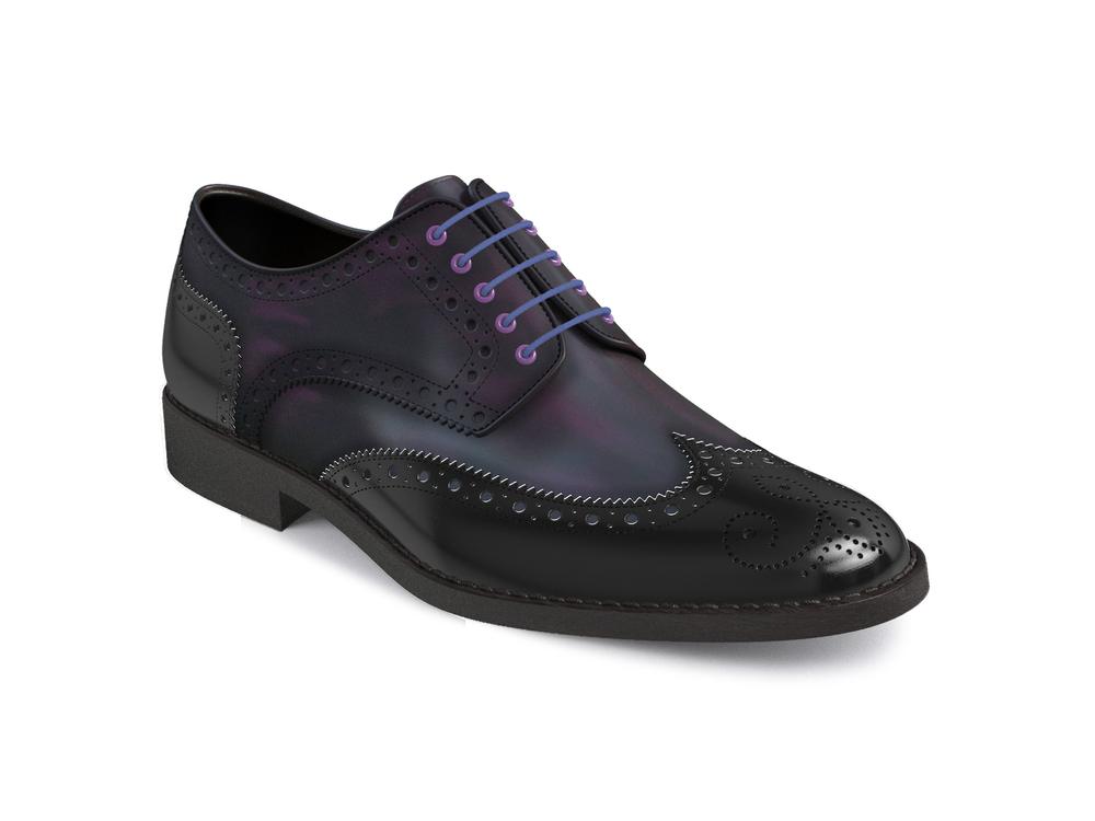 purple polished black shiny leather women derby shoes