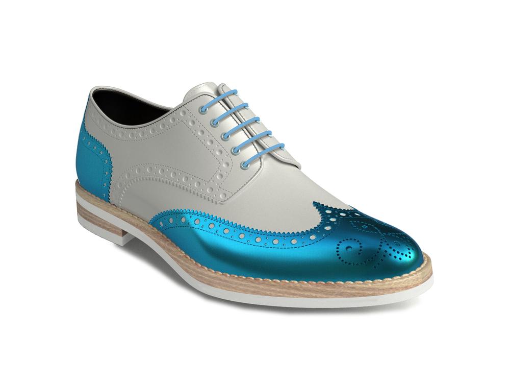 scarpe derby donna pelle lucida bianca laminato turchese