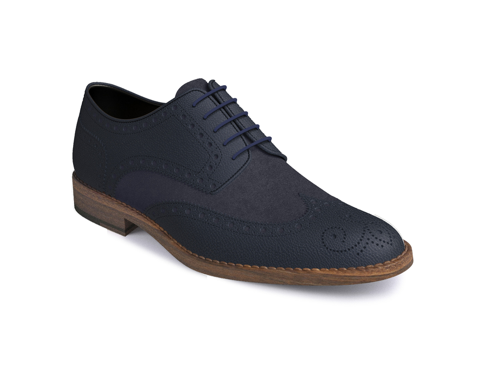navy suede pebble grain leather women derby shoes