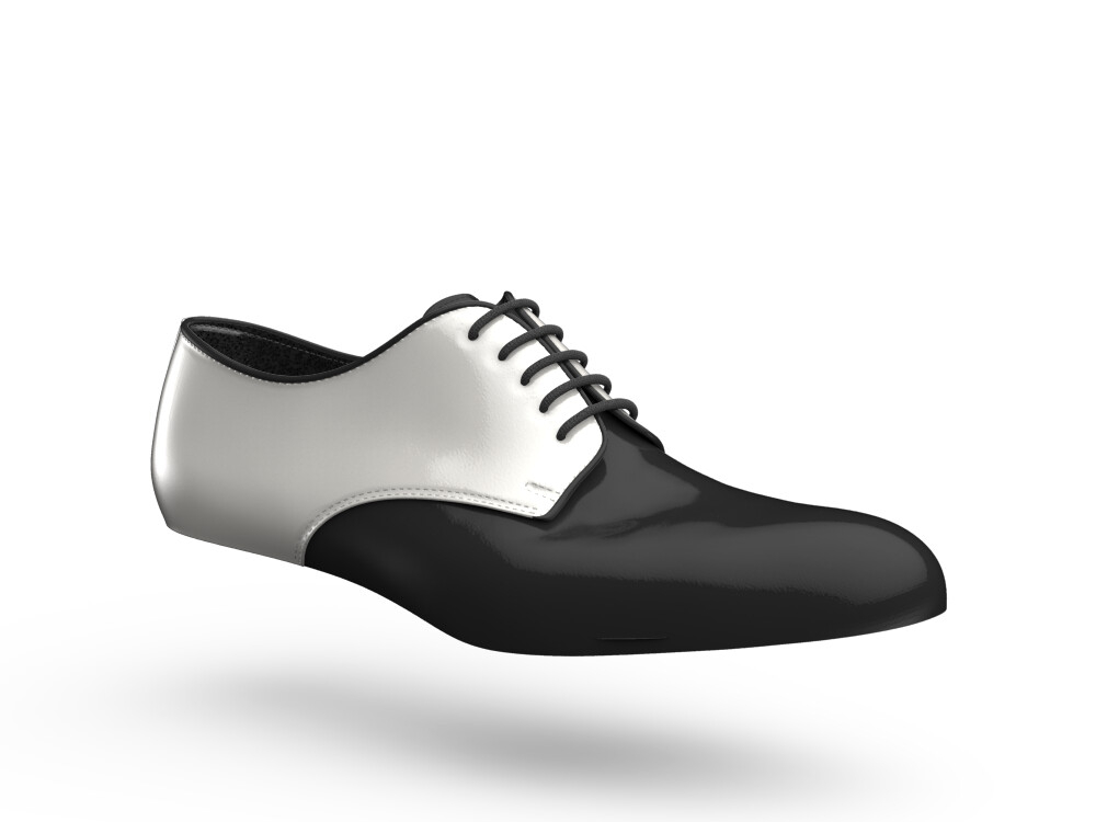 black white shiny leather woman derby