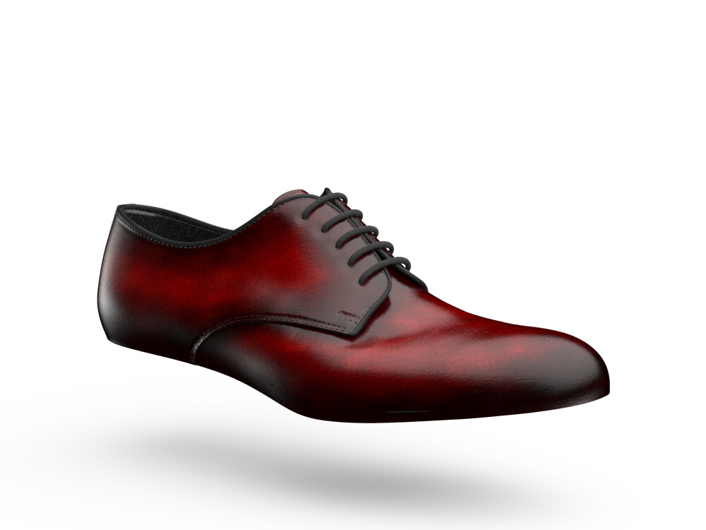 red polished leather woman derby