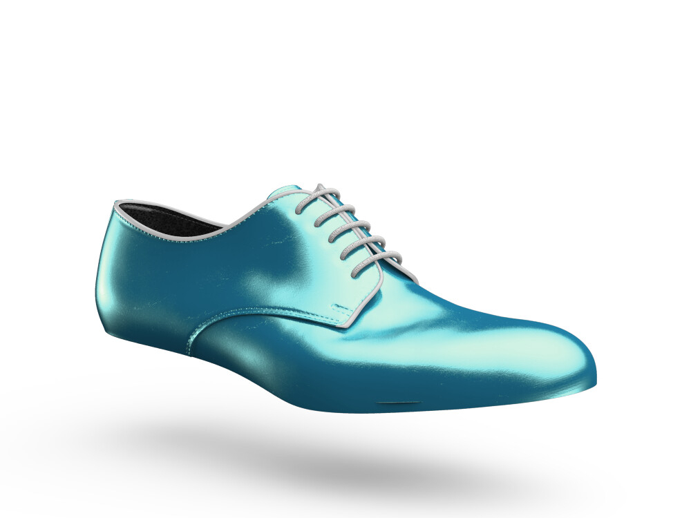 turquoise laminated leather woman derby