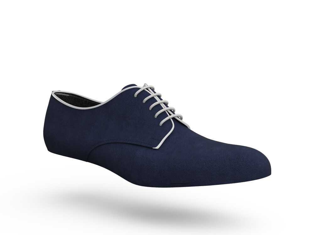blue suede leather woman derby