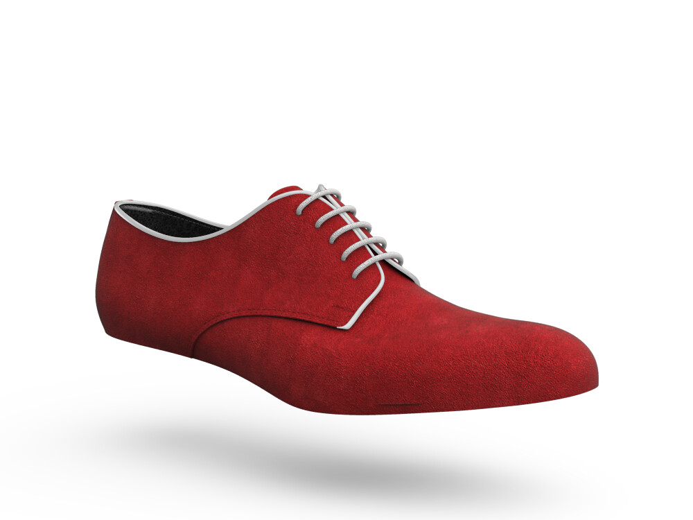 red suede leather woman derby