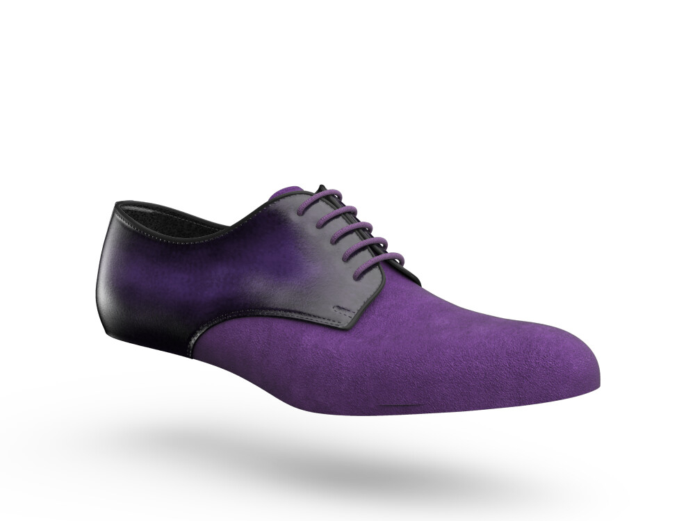 plum suede polished leather woman derby