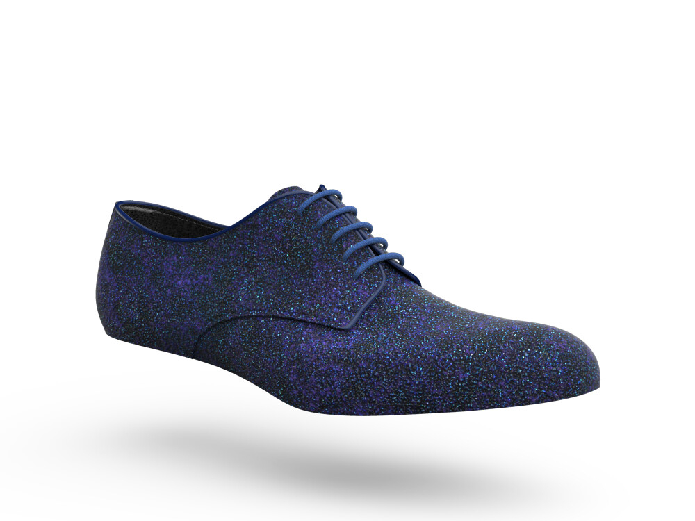 blue stardust glitter leather woman derby