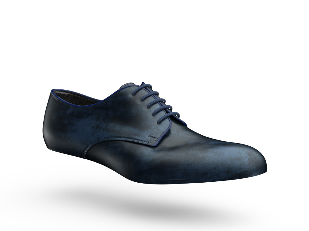 blue deco leather woman derby