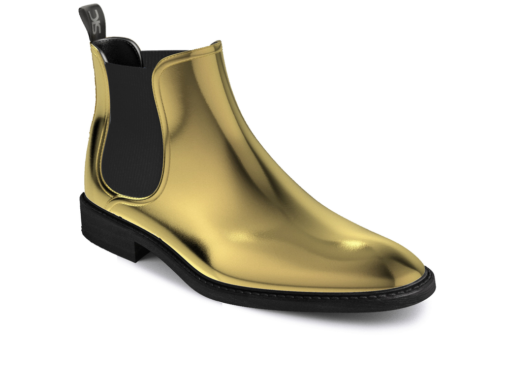 woman gold chelsea boots