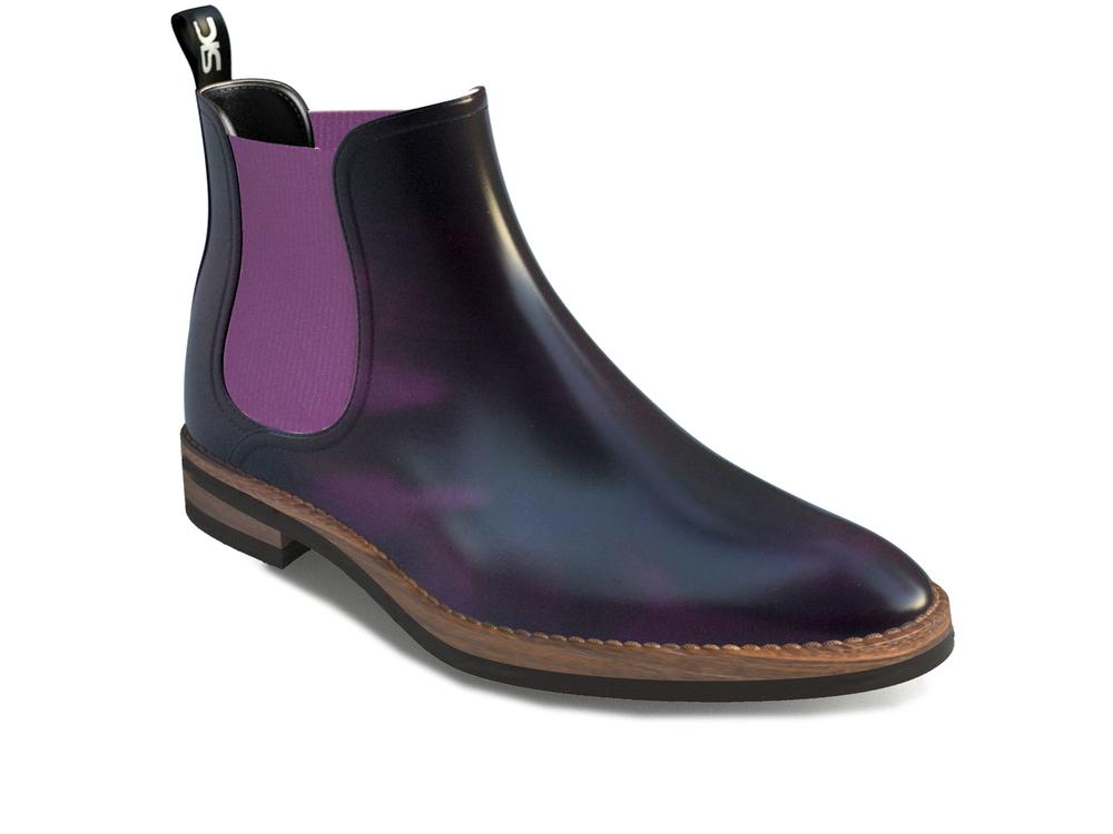 purple polished chelsea boots woman