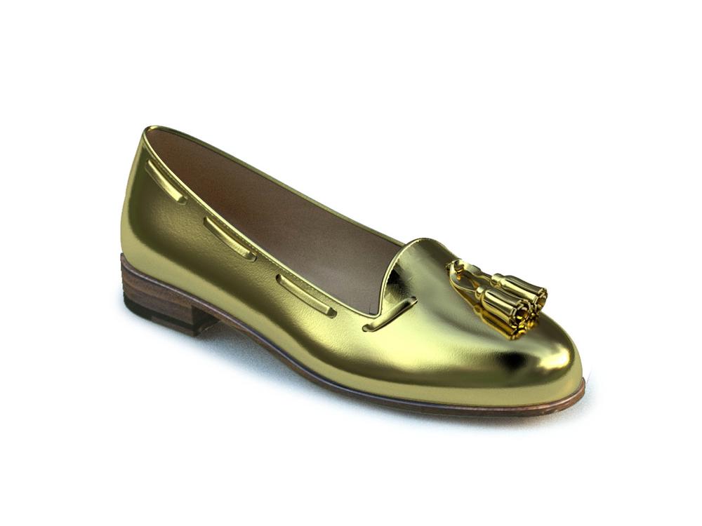 mocassini donna nappina oro