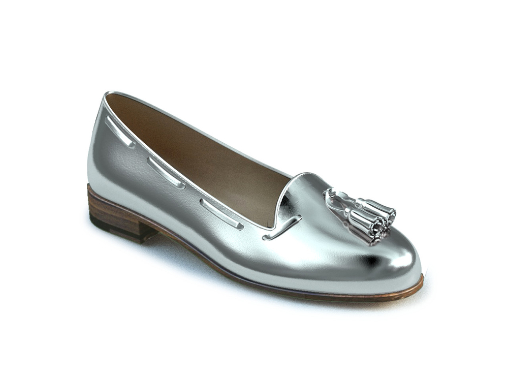 woman silver tassel loafer