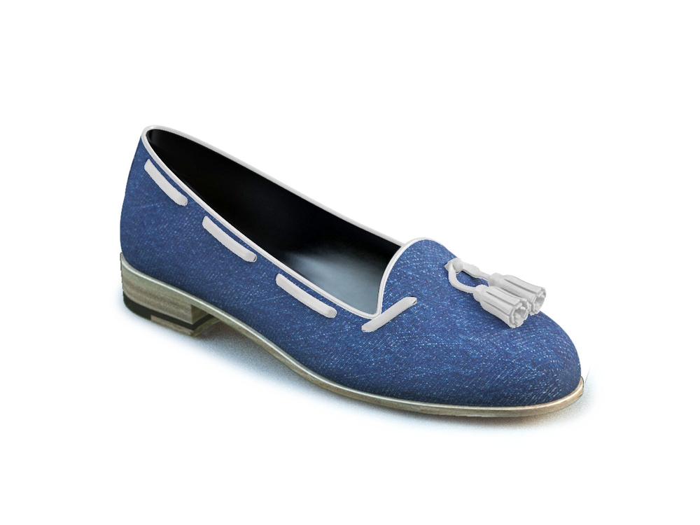 light blue denim woman tassel loafer