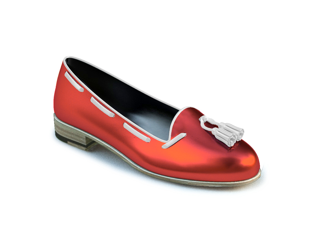 red laminated leather woman tassel loafer
