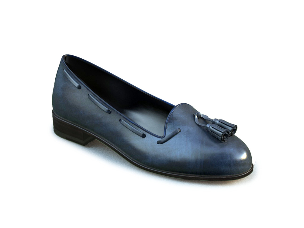 blue deco leather woman tassel loafer