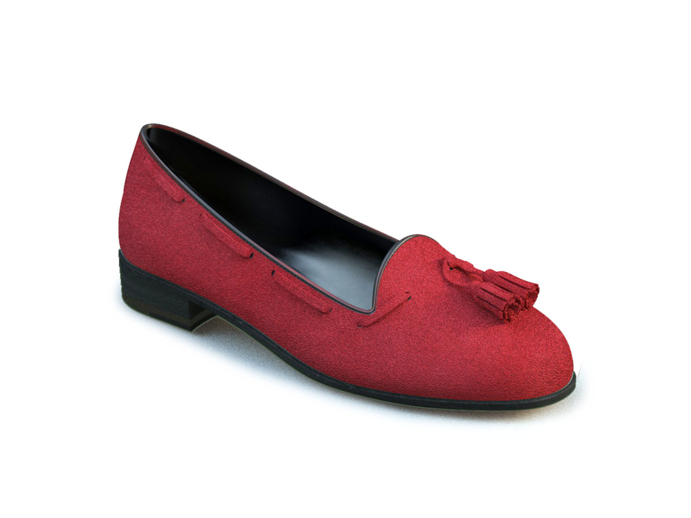 red suede woman tassel loafers
