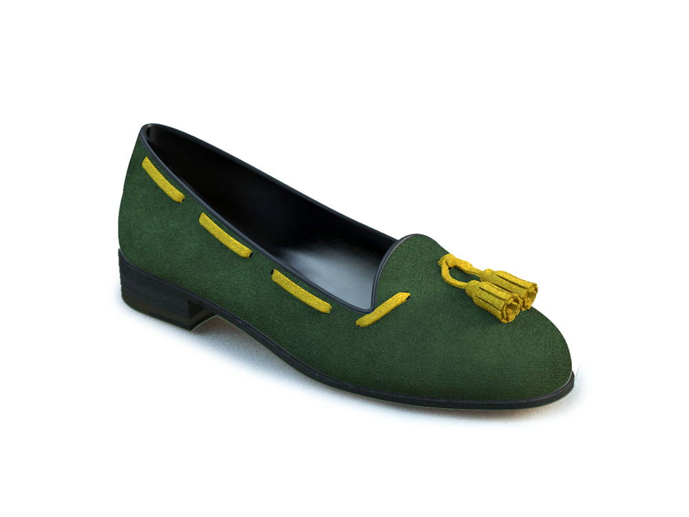 green yellow suede woman tassel loafer