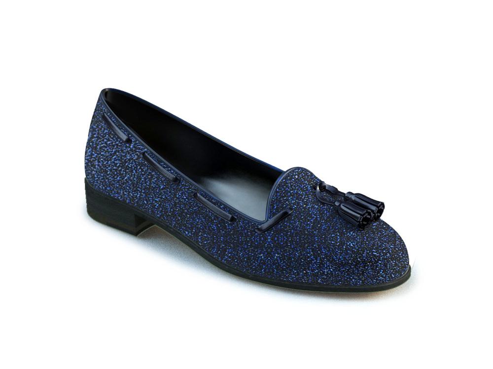 blue glitter stardust leather woman tassel loafer