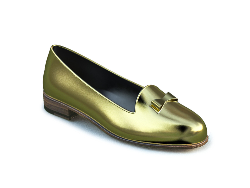gold leather woman mocassin
