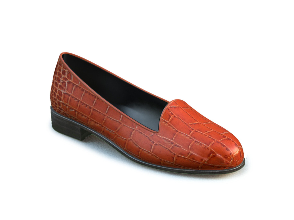 tan crocodile printed leather woman mocassin